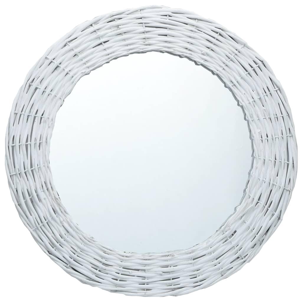 vidaXL Oglindă, alb, 80 cm, răchită poza vidaxl.ro