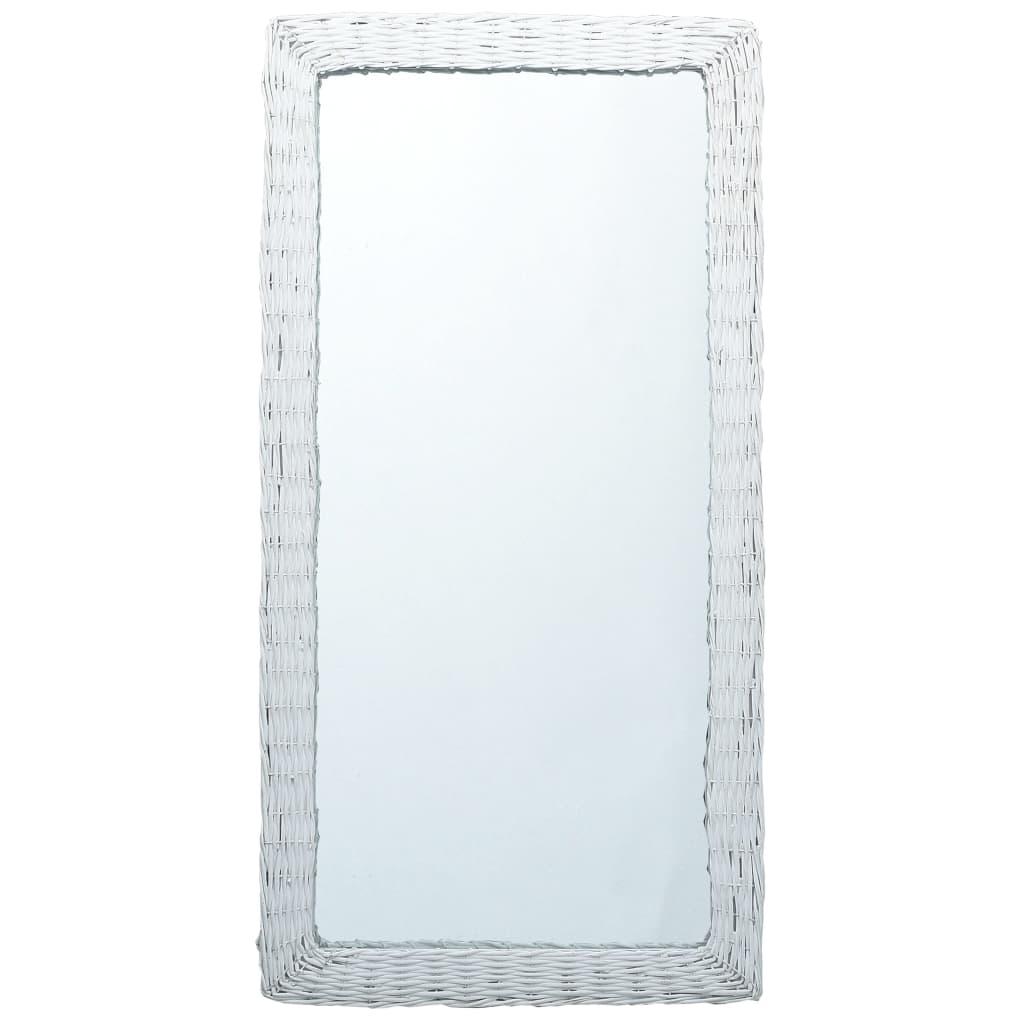 vidaXL Lustro, białe, 120x60 cm, wiklina