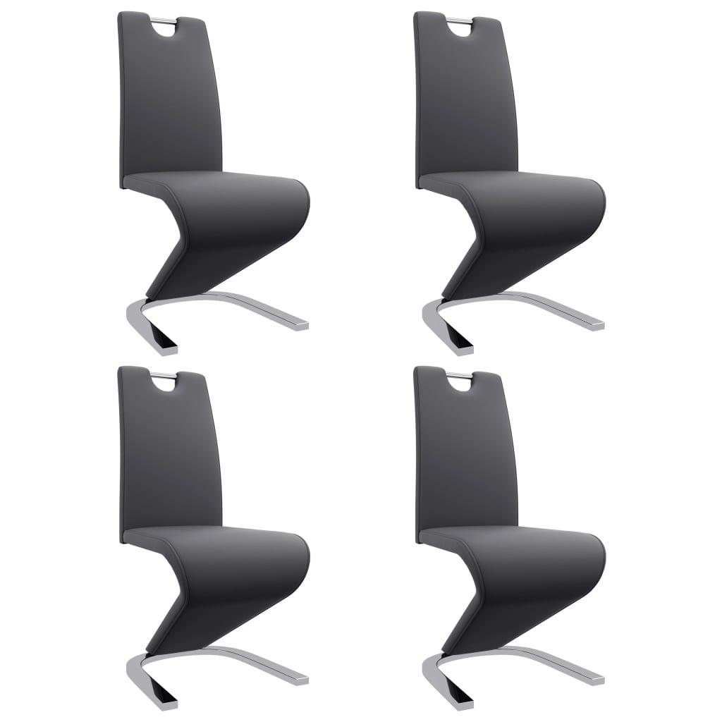 vidaXL Καρέκλες Τραπεζαρίας Ζιγκ-Ζαγκ 4 τεμ. Γκρι από Συνθετικό Δέρμα