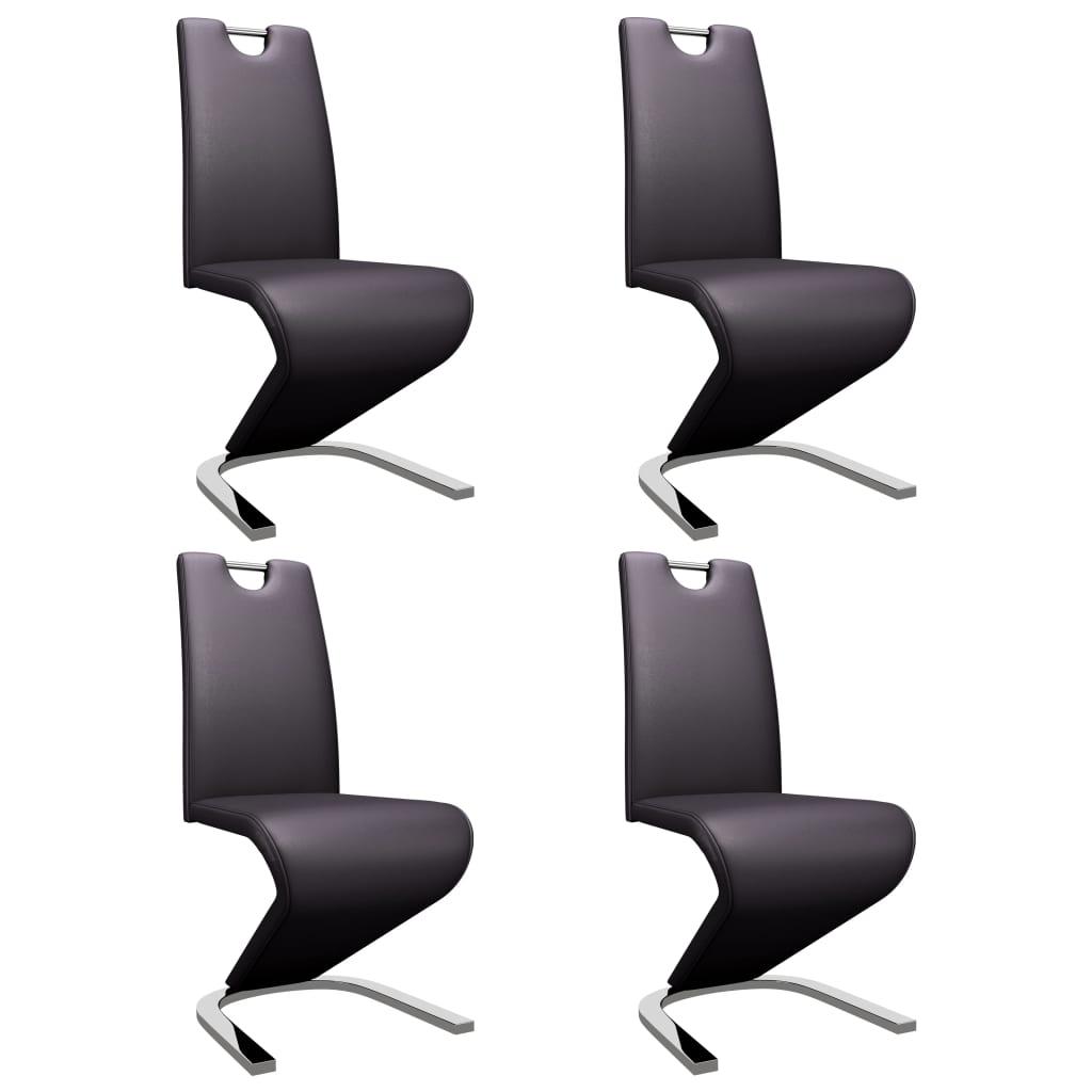 vidaXL Καρέκλες Τραπεζαρίας Ζιγκ-Ζαγκ 4 τεμ. Καφέ από Συνθετικό Δέρμα