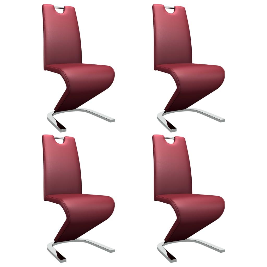 vidaXL Καρέκλες Τραπεζαρίας Ζιγκ-Ζαγκ 4 τεμ. Μπορντό Συνθετικό Δέρμα