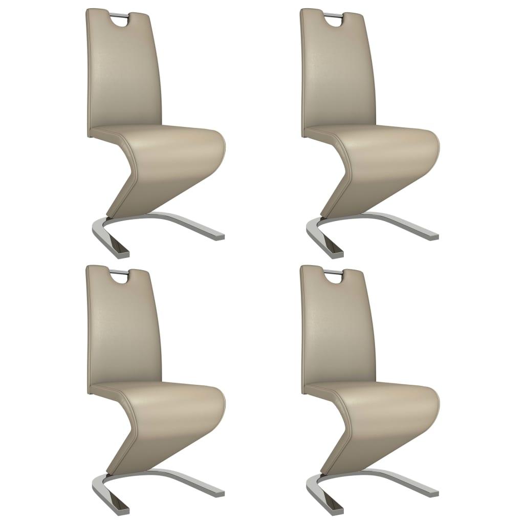 vidaXL Καρέκλες Τραπεζαρίας Ζιγκ-Ζαγκ 4 τεμ Καπουτσίνο Συνθετικό Δέρμα