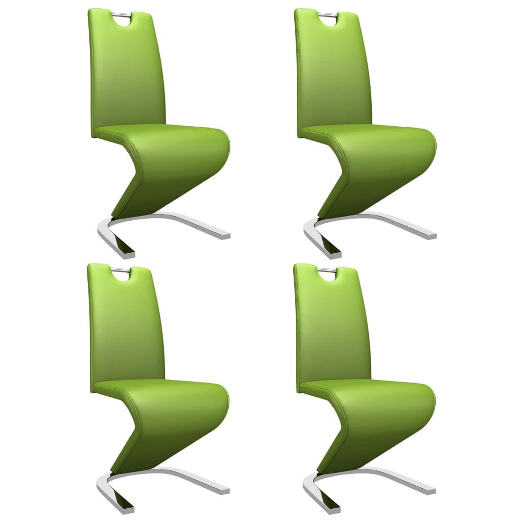 vidaXL Καρέκλες Τραπεζαρίας Ζιγκ-Ζαγκ 4 τεμ. Πράσινες Συνθετικό Δέρμα