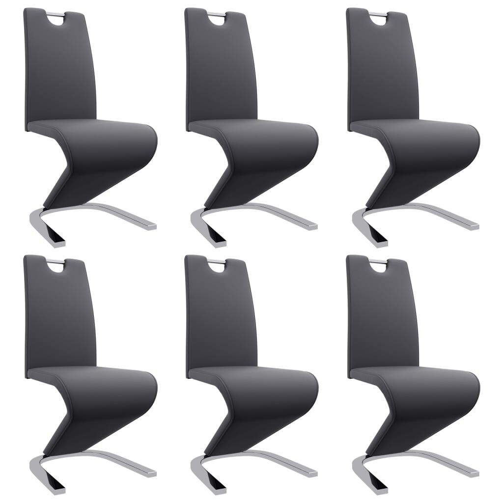 vidaXL Καρέκλες Τραπεζαρίας Ζιγκ-Ζαγκ 6 τεμ. Γκρι από Συνθετικό Δέρμα