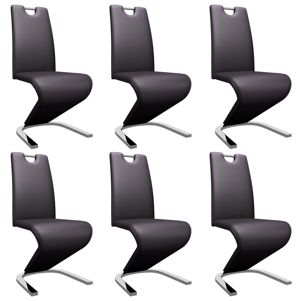 vidaXL Καρέκλες Τραπεζαρίας Ζιγκ-Ζαγκ 6 τεμ. Καφέ από Συνθετικό Δέρμα