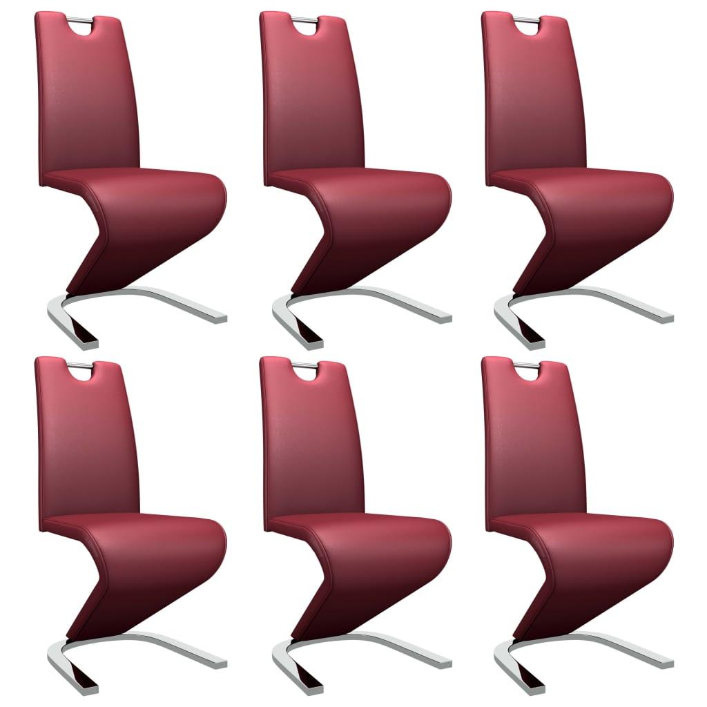 vidaXL Καρέκλες Τραπεζαρίας Ζιγκ-Ζαγκ 6 τεμ. Μπορντό Συνθετικό Δέρμα