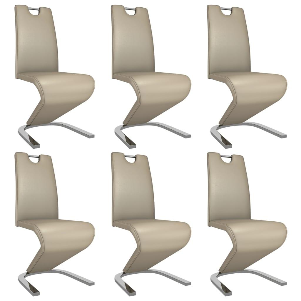 vidaXL Καρέκλες Τραπεζαρίας Ζιγκ-Ζαγκ 6 τεμ Καπουτσίνο Συνθετικό Δέρμα