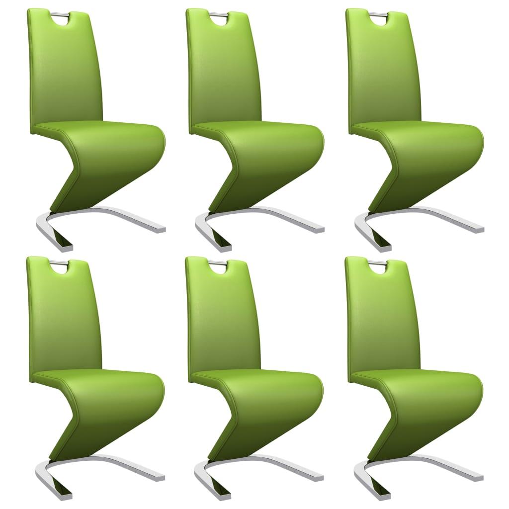 vidaXL Καρέκλες Τραπεζαρίας Ζιγκ-Ζαγκ 6 τεμ. Πράσινες Συνθετικό Δέρμα