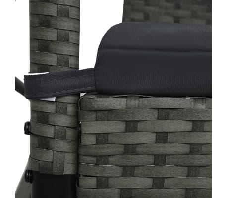 Vidaxl 3 Seater Garden Swing Bench With Canopy Poly Rattan Gray Vidaxl Com