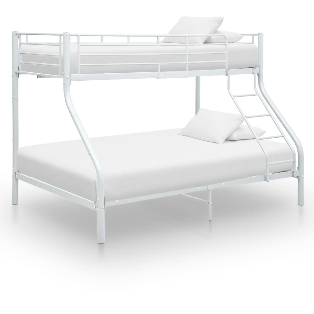 vidaXL Πλαίσιο Κουκέτας Λευκό 140×200 εκ. / 90×200 εκ. Μεταλλικό