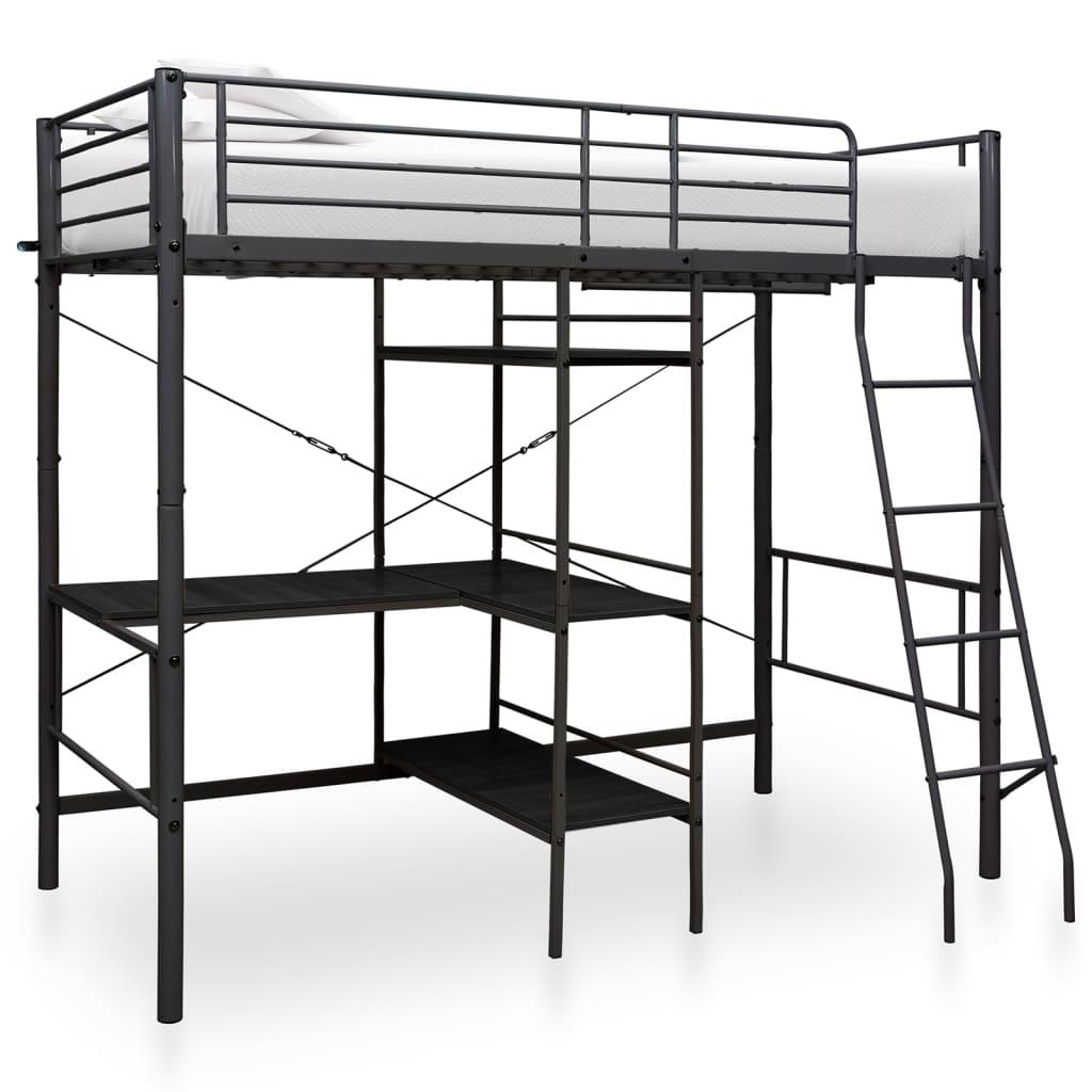 vidaXL Cadru de pat supraetajat cu masă, negru, 90 x 200 cm, metal imagine vidaxl.ro