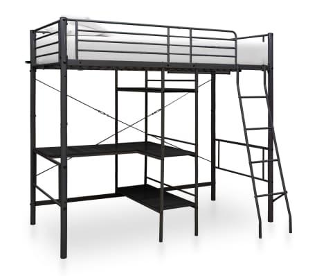 vidaXL Cadru de pat supraetajat cu masă, negru, 90 x 200 cm, metal