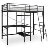 vidaXL sengestel til køjeseng med bord 90x200 cm sort