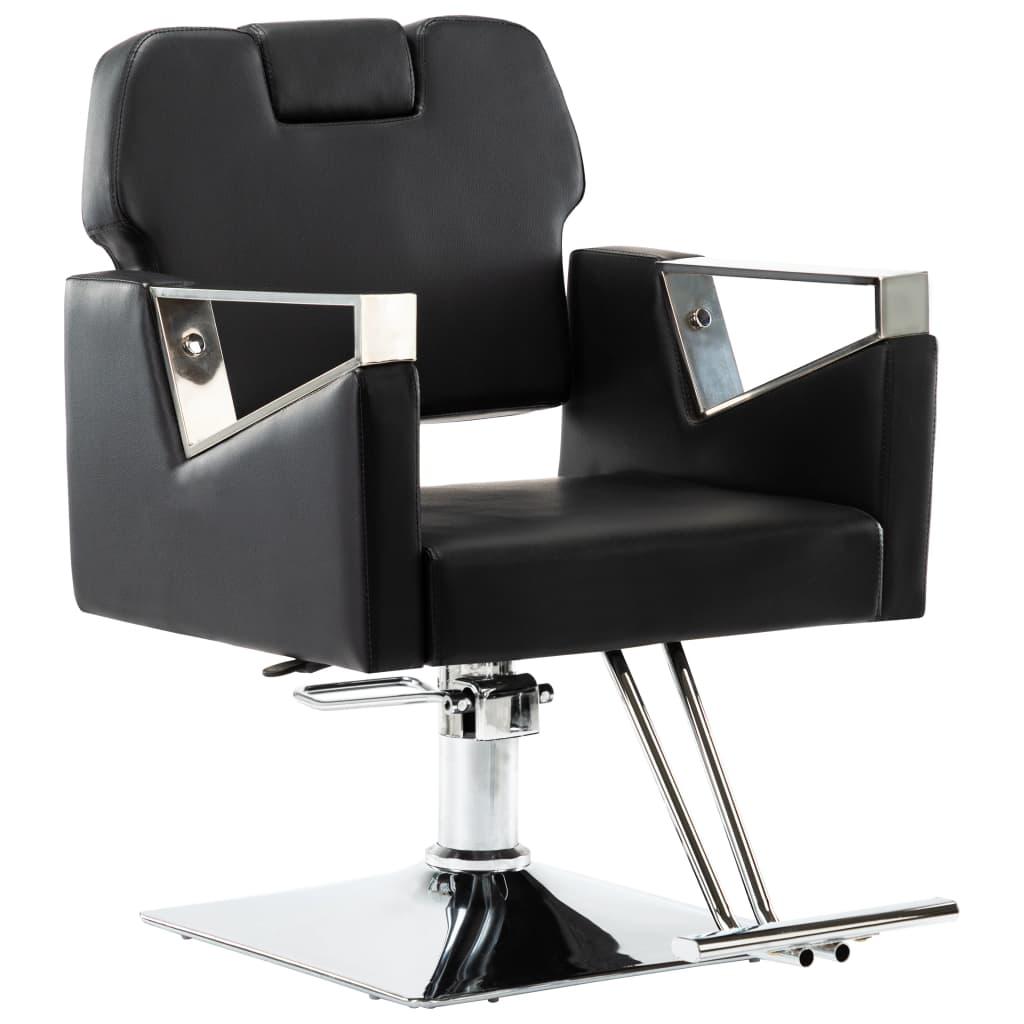 vidaXL Scaun de frizer profesional cu tetieră, negru, piele ecologică vidaxl.ro