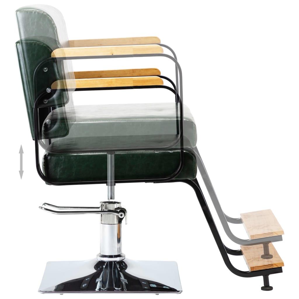 vidaXL Profesionální kadeřnické křeslo zelené umělá kůže