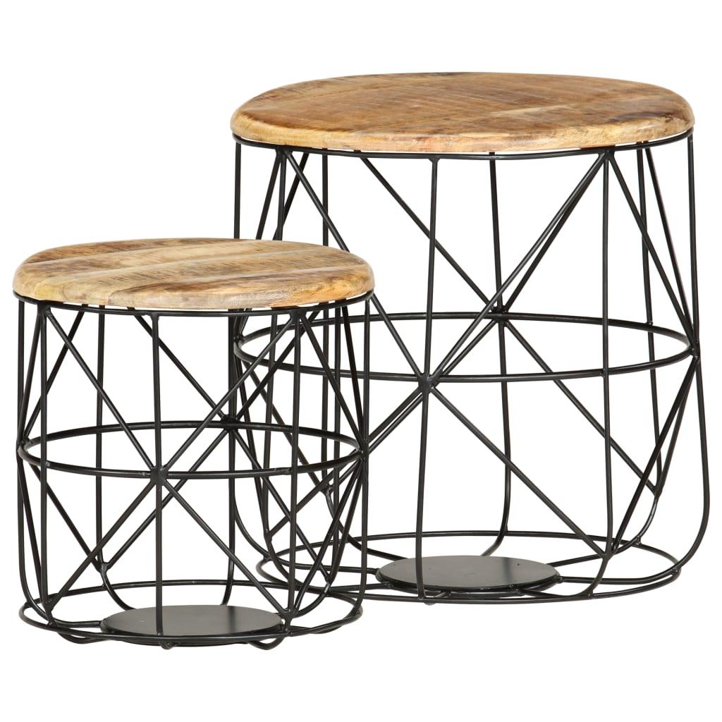 vidaXL Măsuțe de cafea, 2 buc., lemn masiv de mango imagine vidaxl.ro