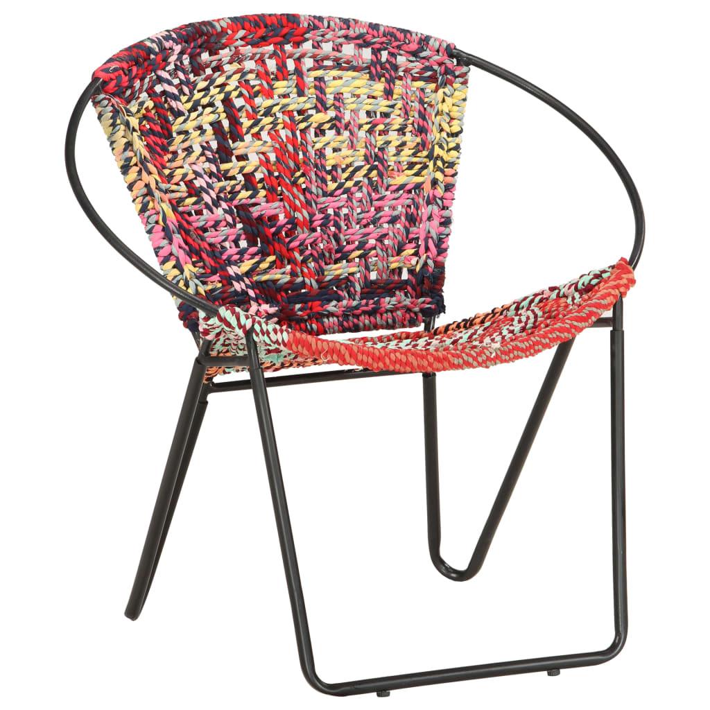 vidaXL Chaise ronde Chindi Multicolore Tissu