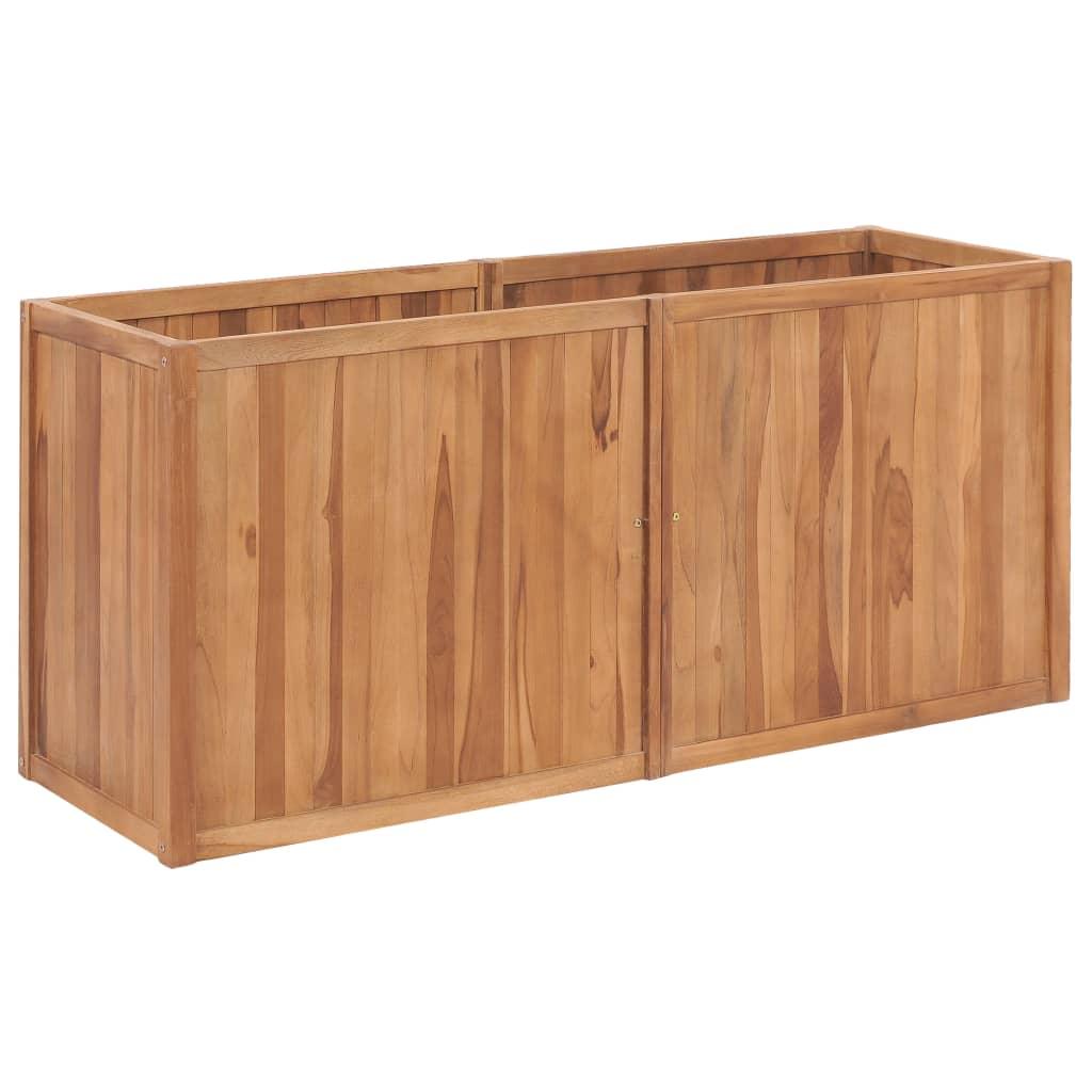 vidaXL Strat înălțat de grădină, 150 x 50 x 70 cm, lemn masiv de tec imagine vidaxl.ro
