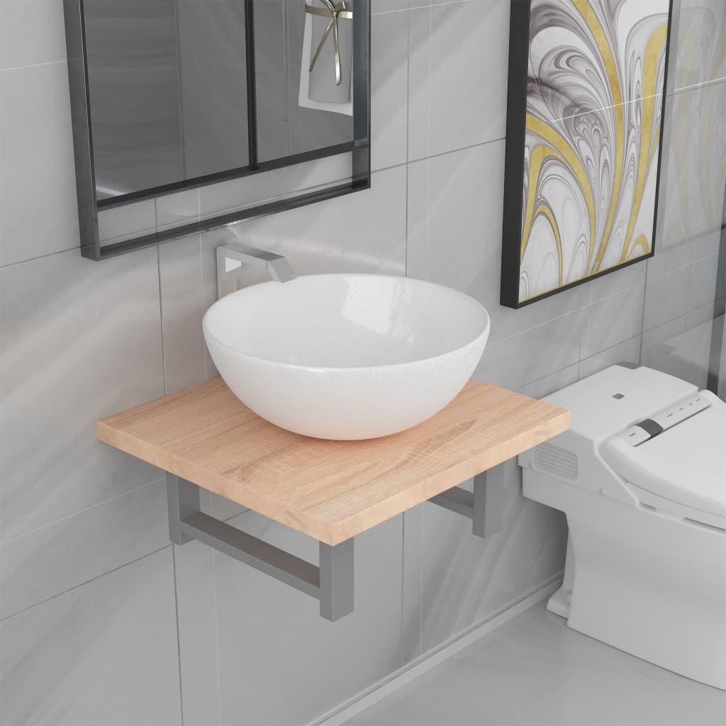 vidaXL Set mobilier de baie, 2 piese, culoare stejar, ceramică vidaxl.ro