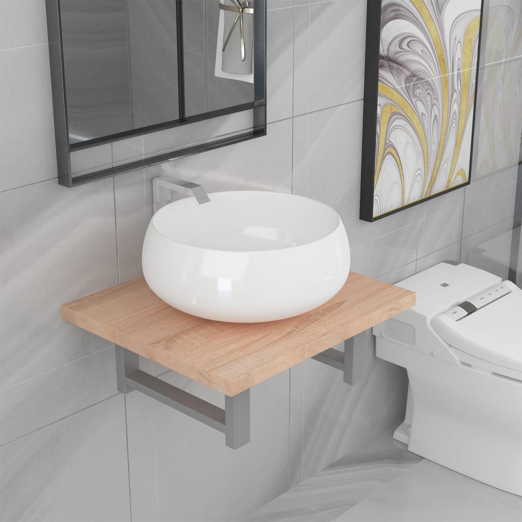 vidaXL 2dílný set koupelnového nábytku keramika dub