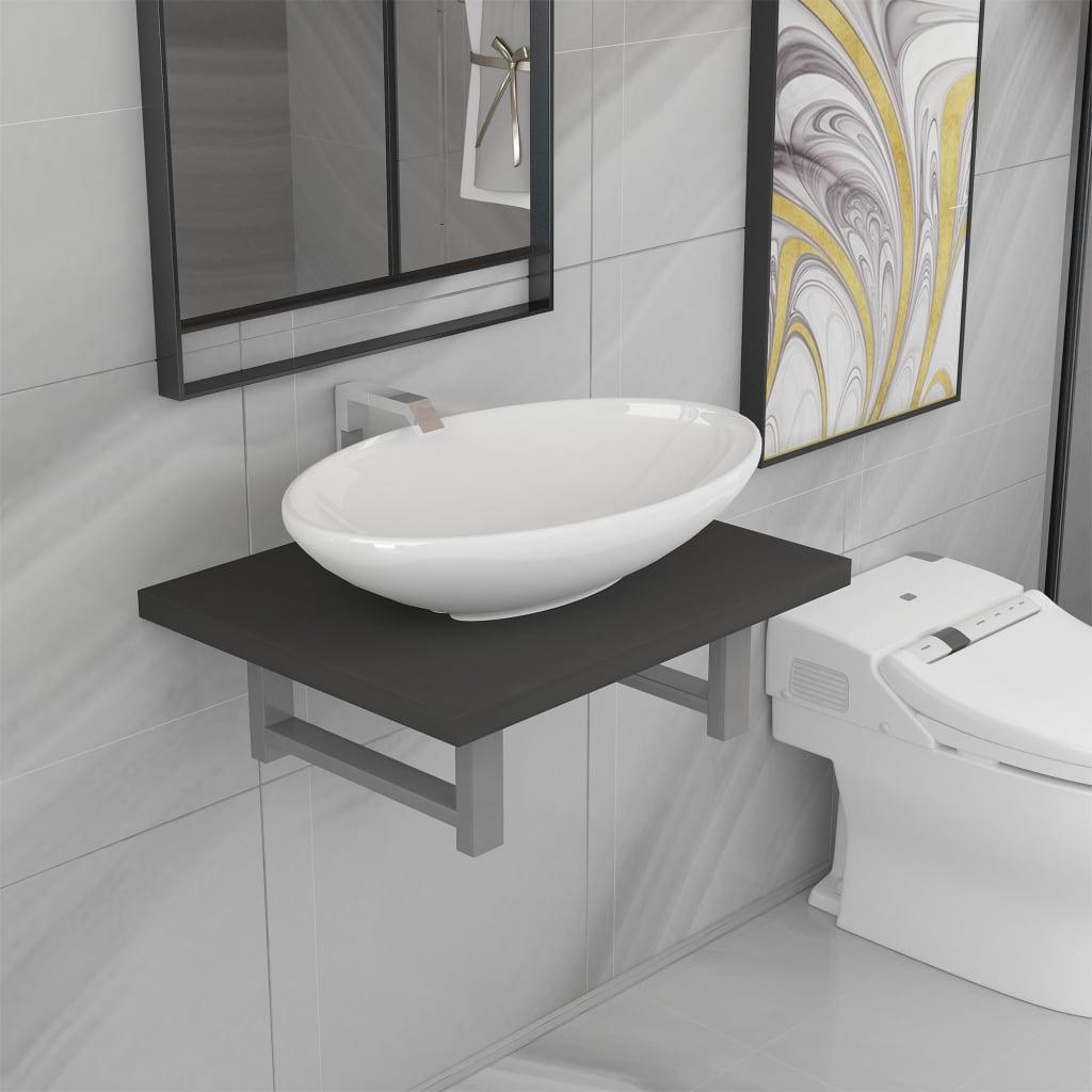 vidaXL Set mobilier de baie, 2 piese, gri, ceramică imagine vidaxl.ro