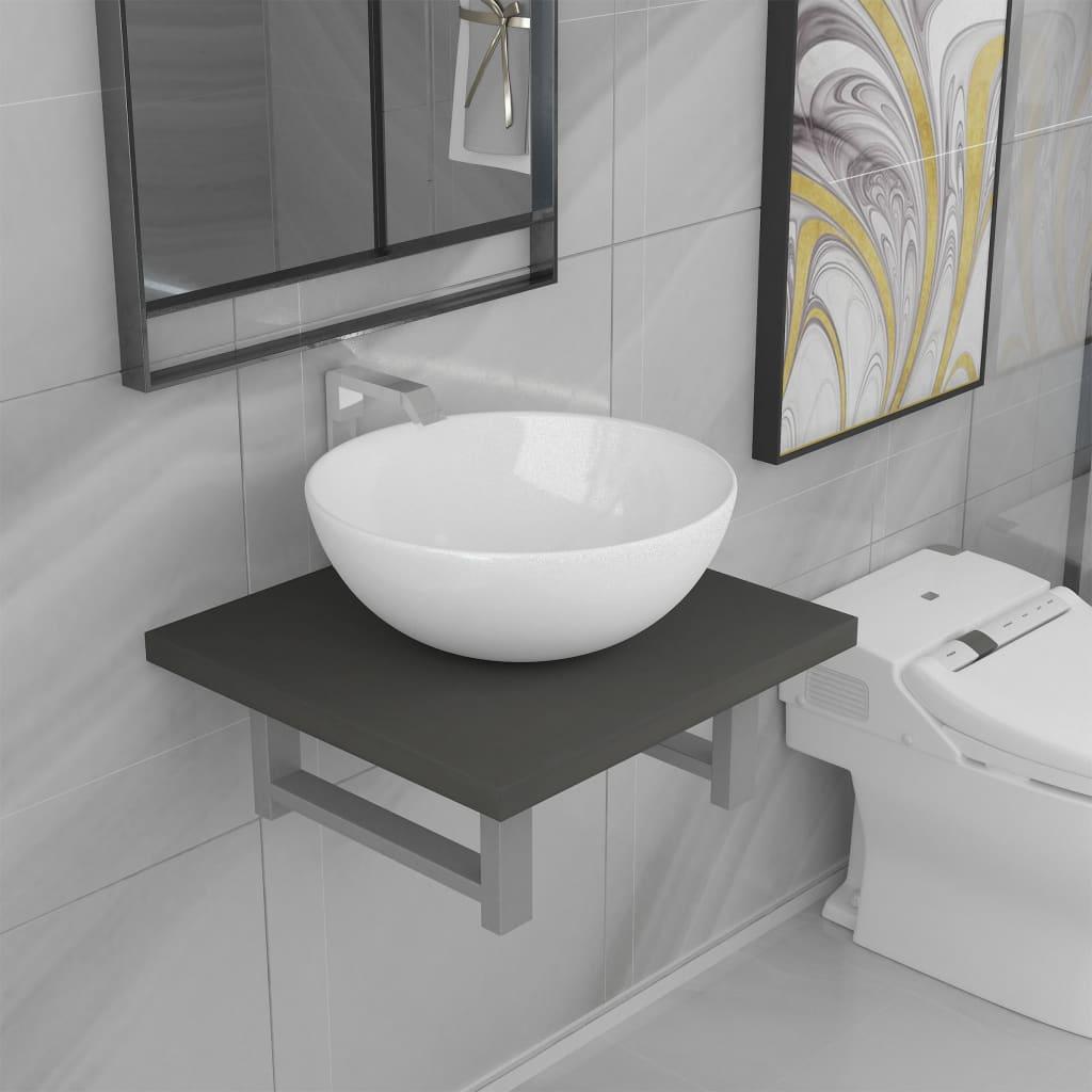 vidaXL Set mobilier de baie, 2 piese, gri, ceramică poza vidaxl.ro