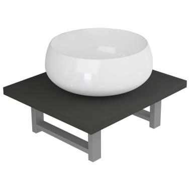 vidaXL Vonios kambario baldų komplektas, 2d., pilkas, keramika[2/13]