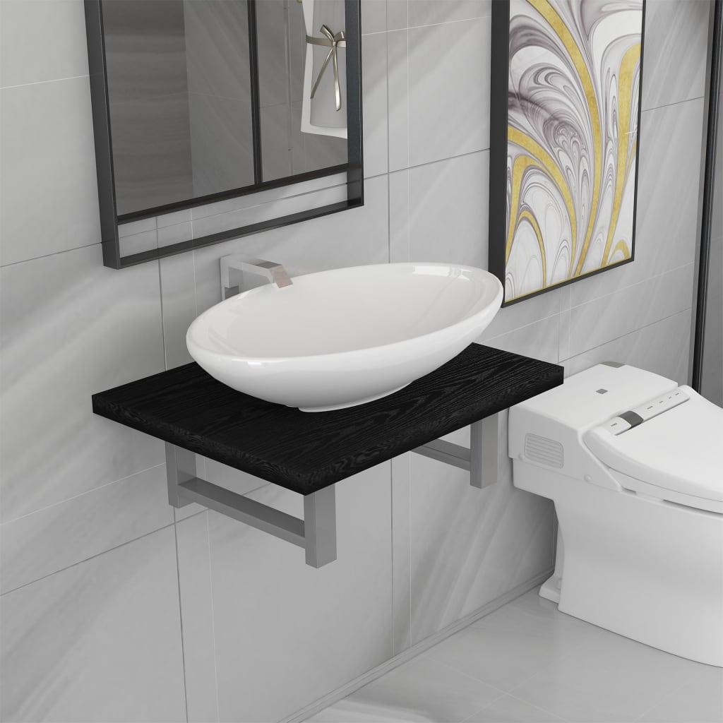 2dílný set koupelnového nábytku keramika černý