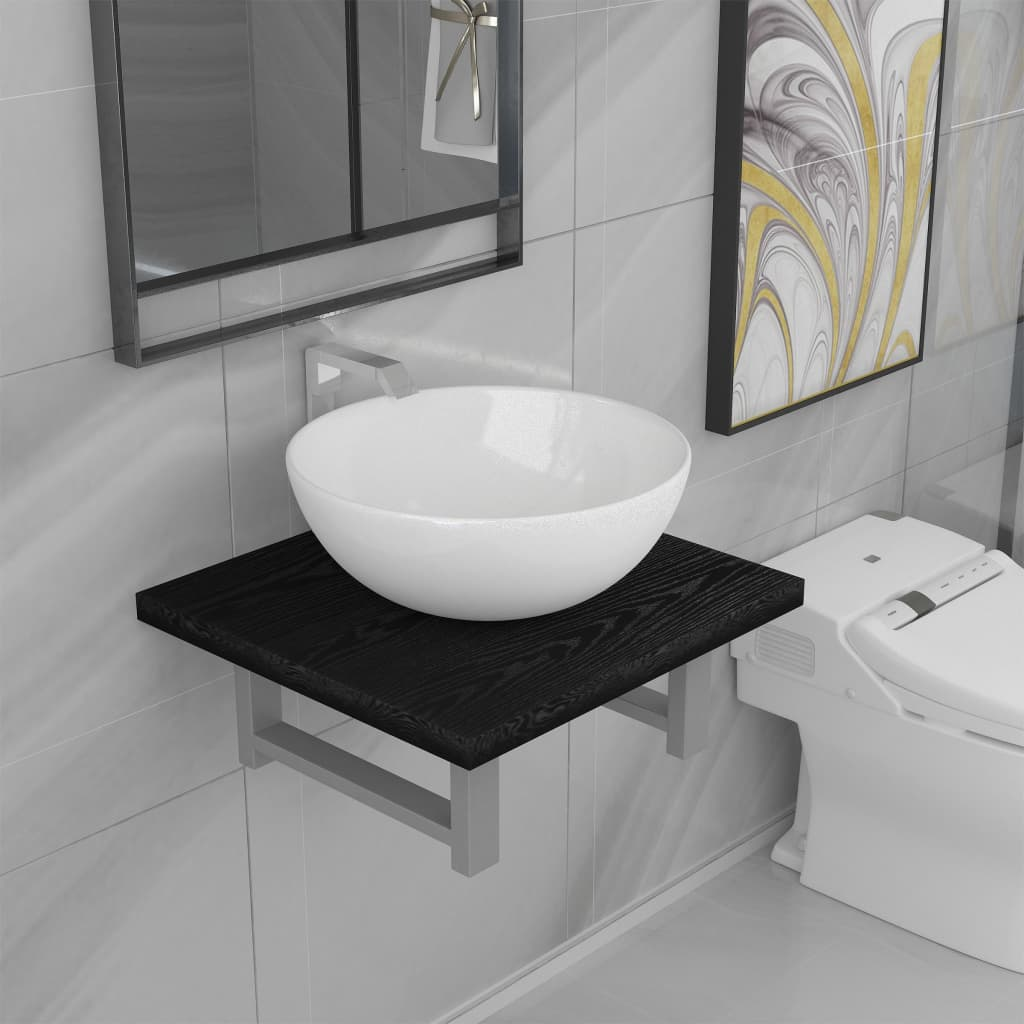 vidaXL Set mobilier de baie, 2 piese, negru, ceramică vidaxl.ro