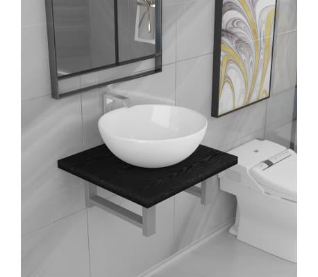 vidaXL Vonios kambario baldų komplektas, 2d., juodas, keramika[1/14]