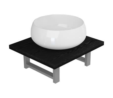 vidaXL Set mobilier de baie, 2 piese, negru, ceramică
