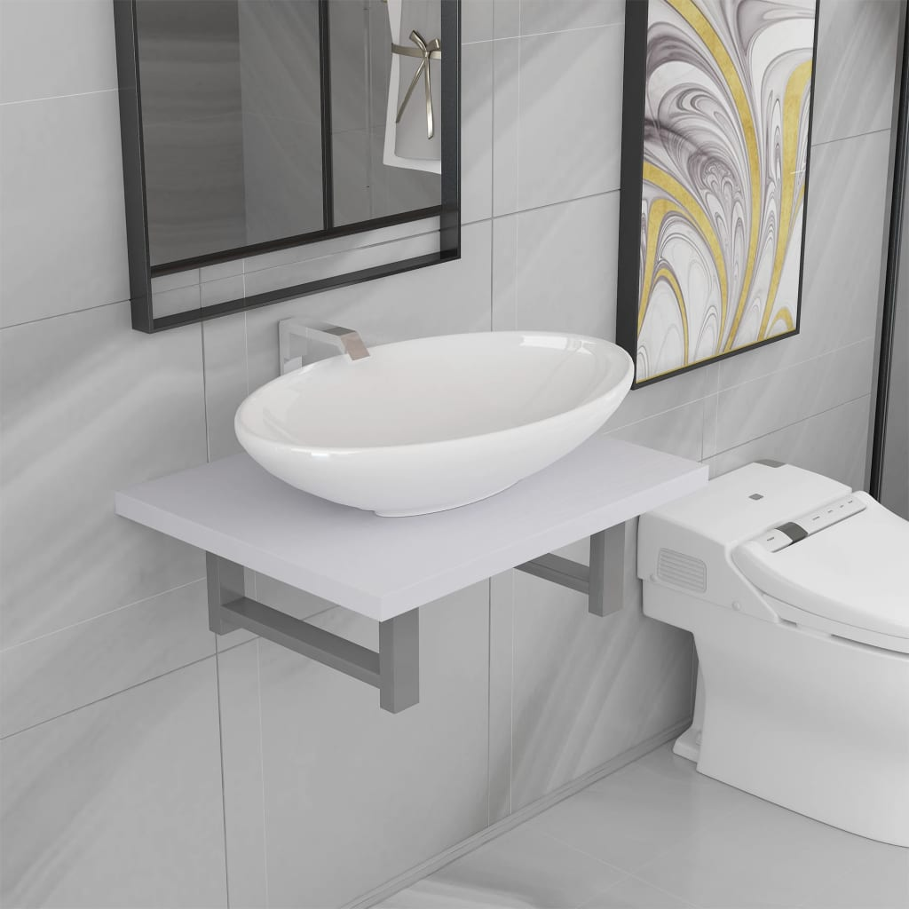 2dílný set koupelnového nábytku keramika bílý
