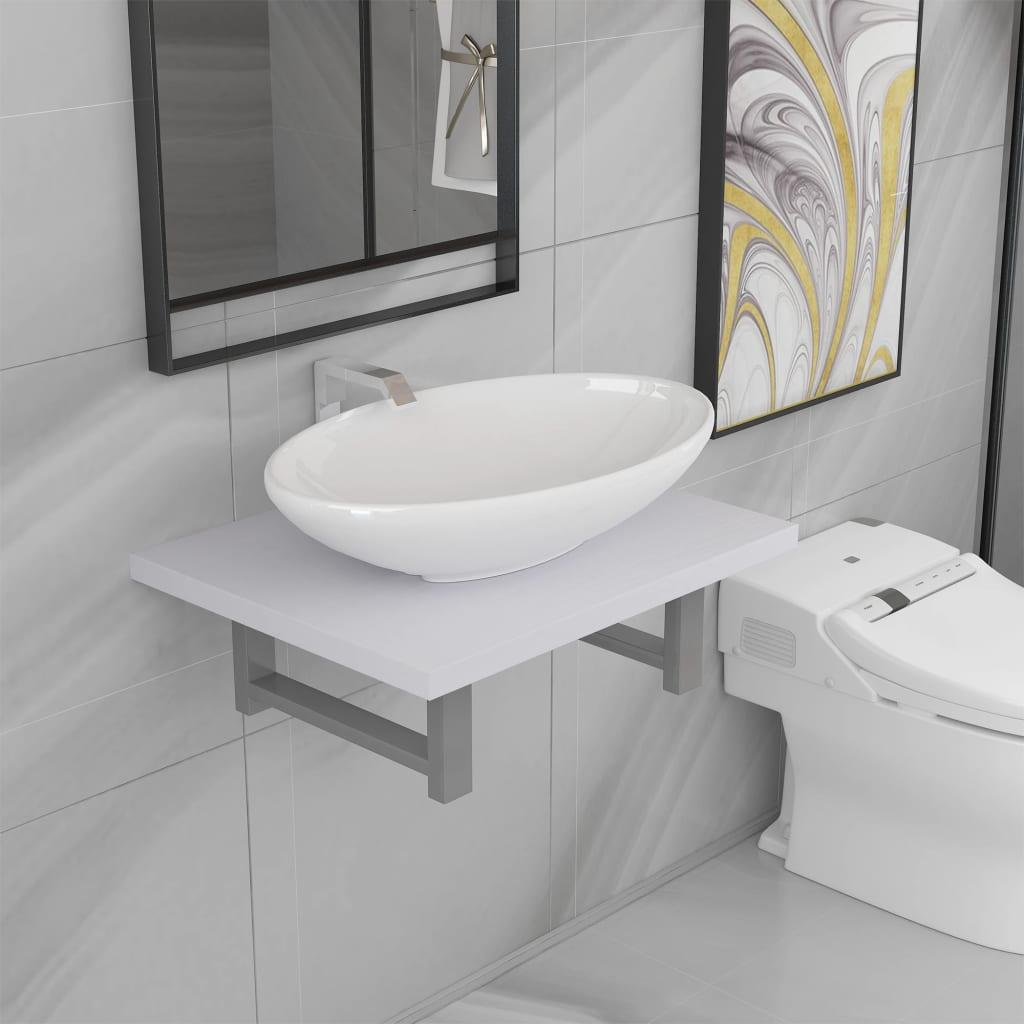vidaXL 2dílný set koupelnového nábytku keramika bílý