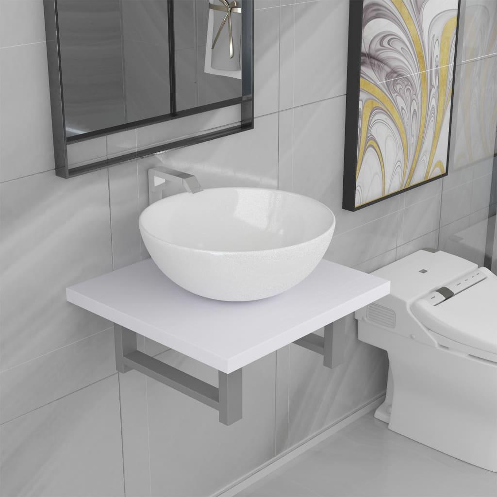 vidaXL Set mobilier de baie, 2 piese, alb, ceramică poza vidaxl.ro