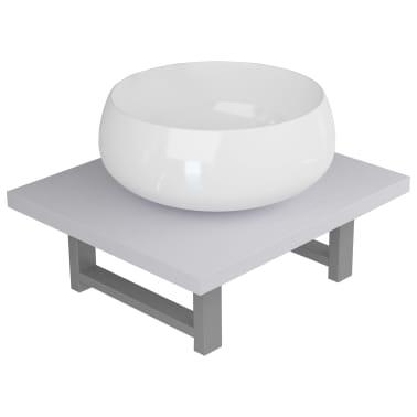 vidaXL Vonios kambario baldų komplektas, 2d., baltas, keramika[2/13]
