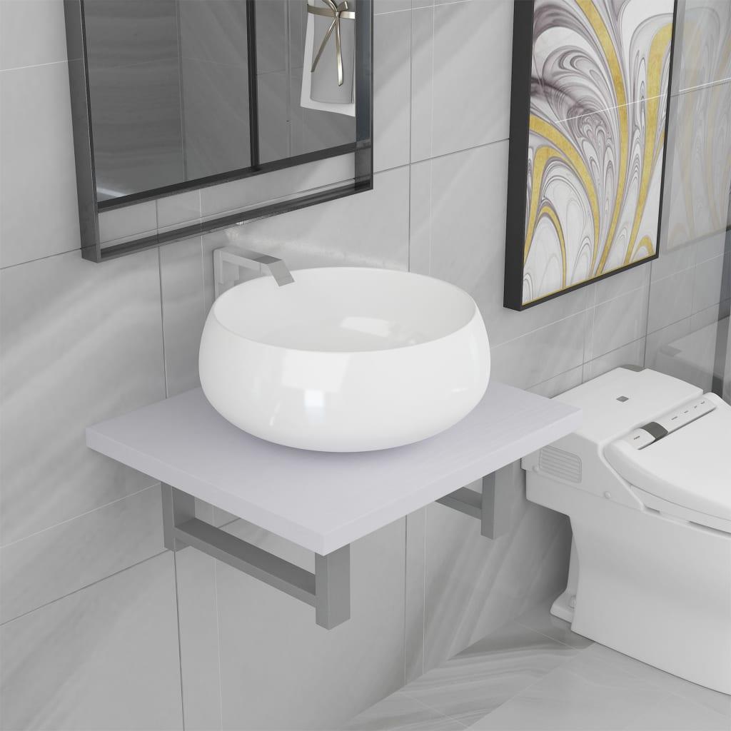vidaXL Set mobilier de baie, 2 piese, alb, ceramică imagine vidaxl.ro