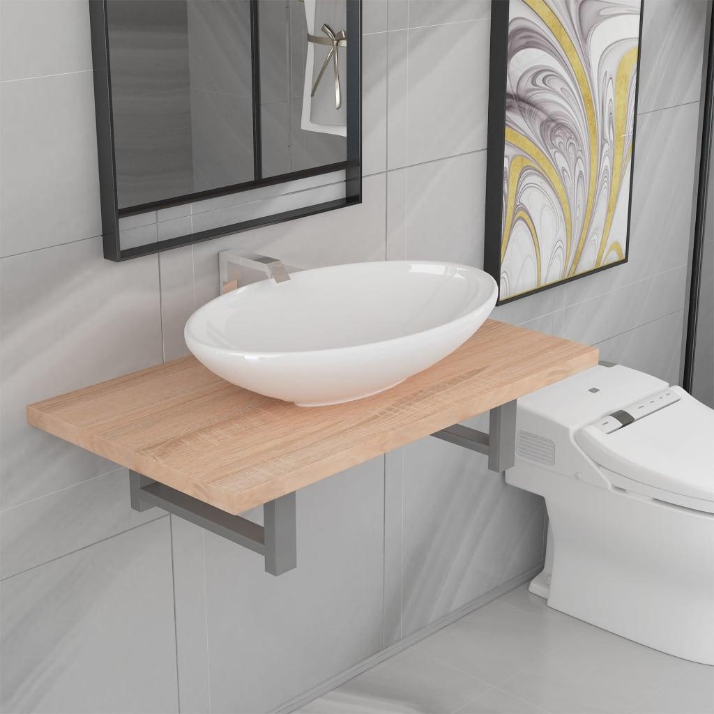 vidaXL Set mobilier de baie din două piese, stejar, ceramică imagine vidaxl.ro