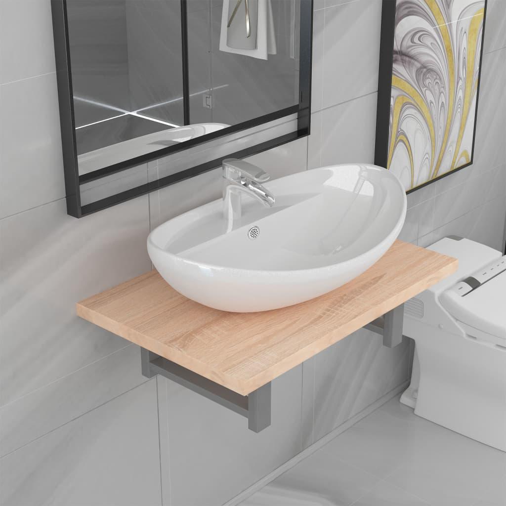 vidaXL Set mobilier de baie din două piese, stejar, ceramică vidaxl.ro