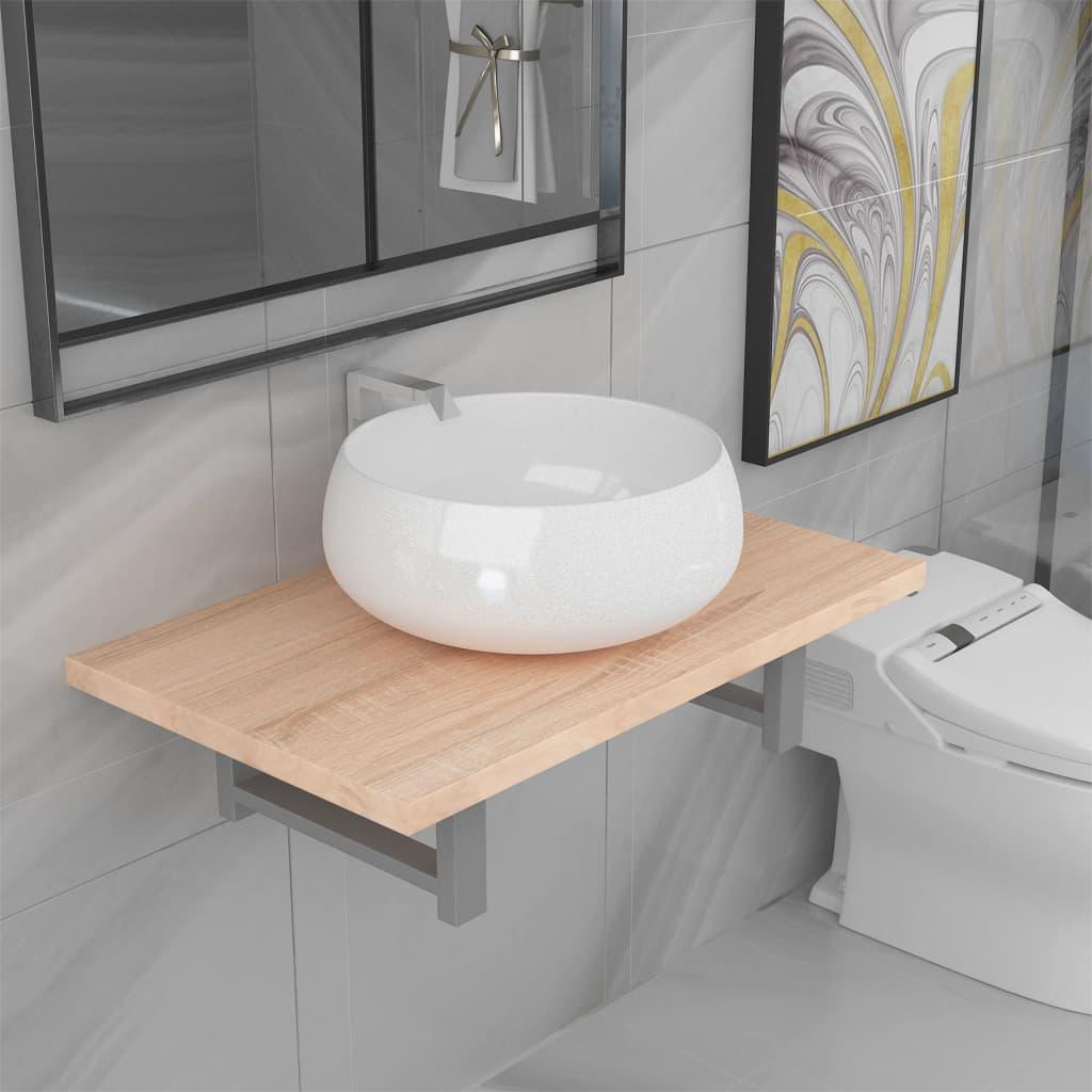2dílný set koupelnového nábytku keramika dub