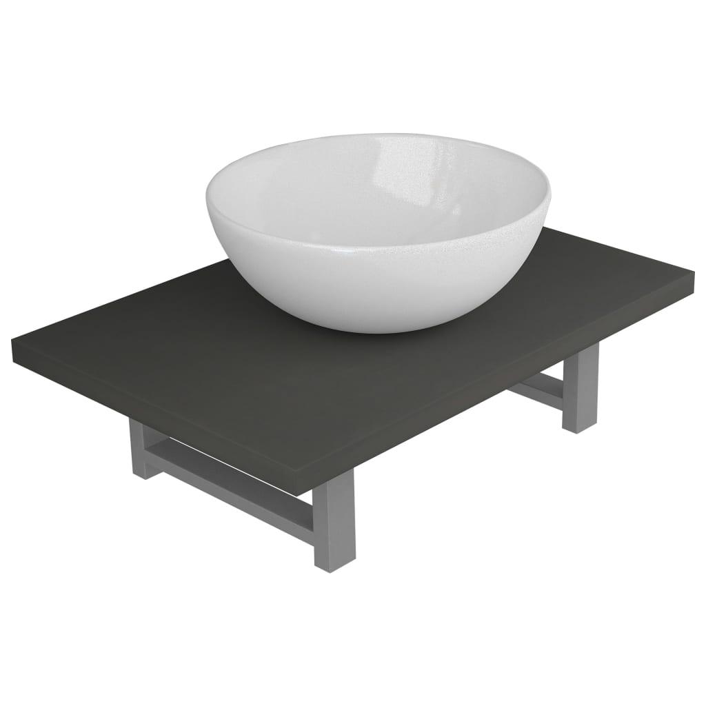 vidaXL Set mobilier de baie, 2 piese, gri, ceramică poza 2021 vidaXL