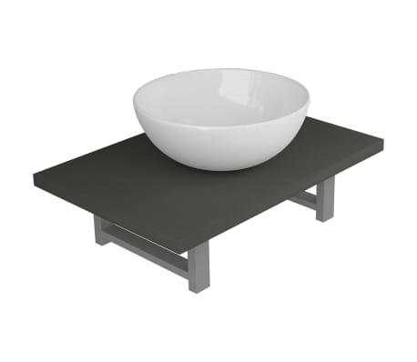 vidaXL Dvodelni komplet kopalniškega pohištva iz keramike siv