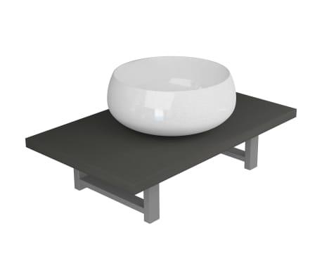 vidaXL Vonios kambario baldų komplektas, 2d., pilkas, keramika[2/15]