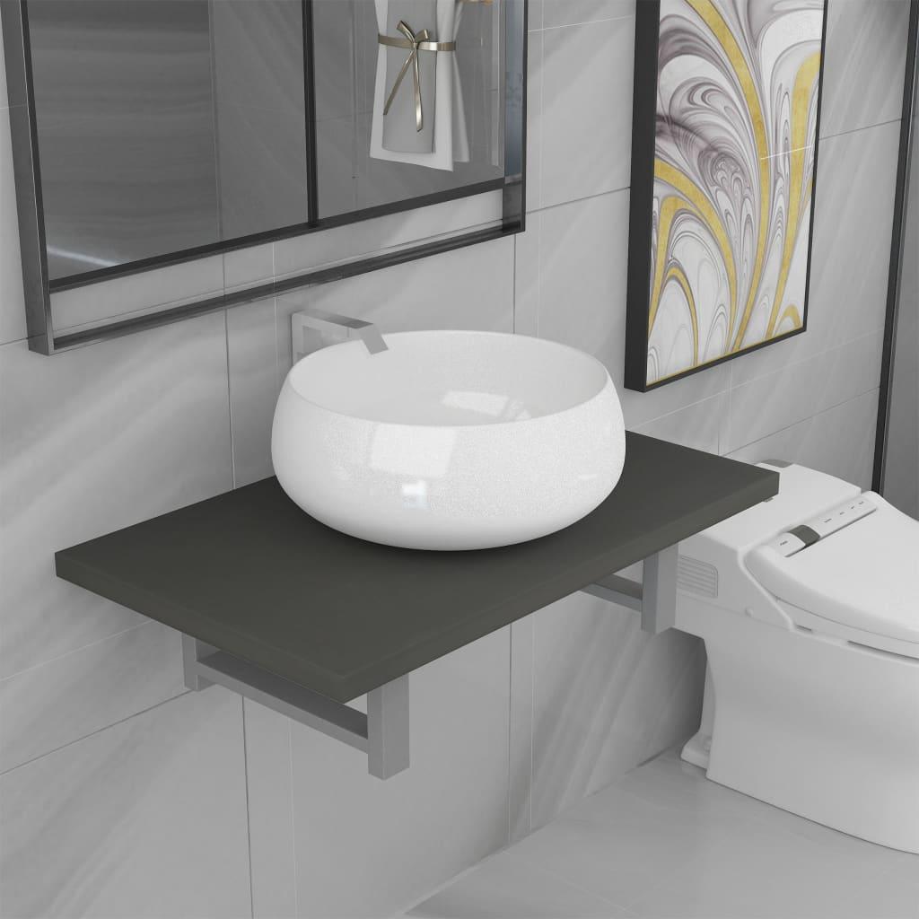 vidaXL 2dílný set koupelnového nábytku keramika šedý