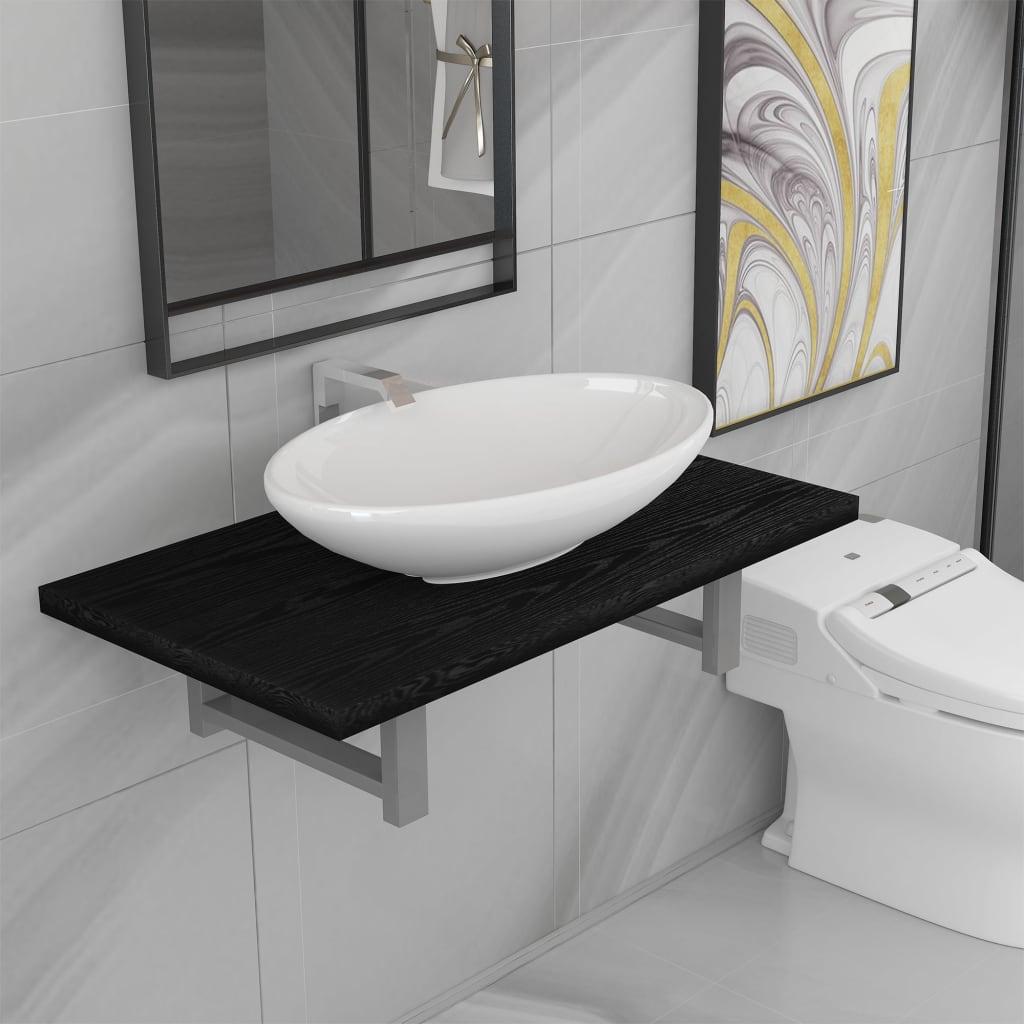 vidaXL 2dílný set koupelnového nábytku keramika černý