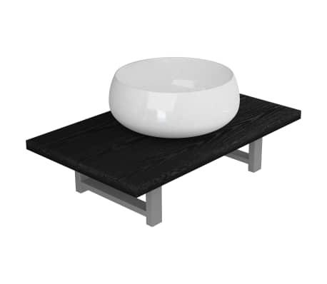 vidaXL Dvodelni komplet kopalniškega pohištva iz keramike črn