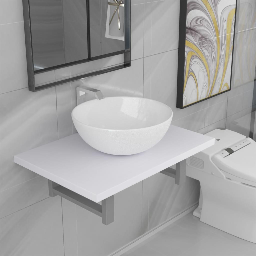 vidaXL Set mobilier de baie, 2 piese, alb, ceramică vidaxl.ro
