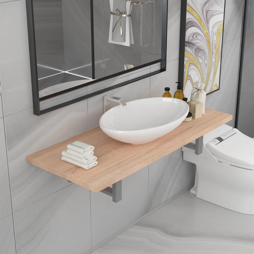vidaXL Set mobilier de baie din două piese, stejar, ceramică poza vidaxl.ro