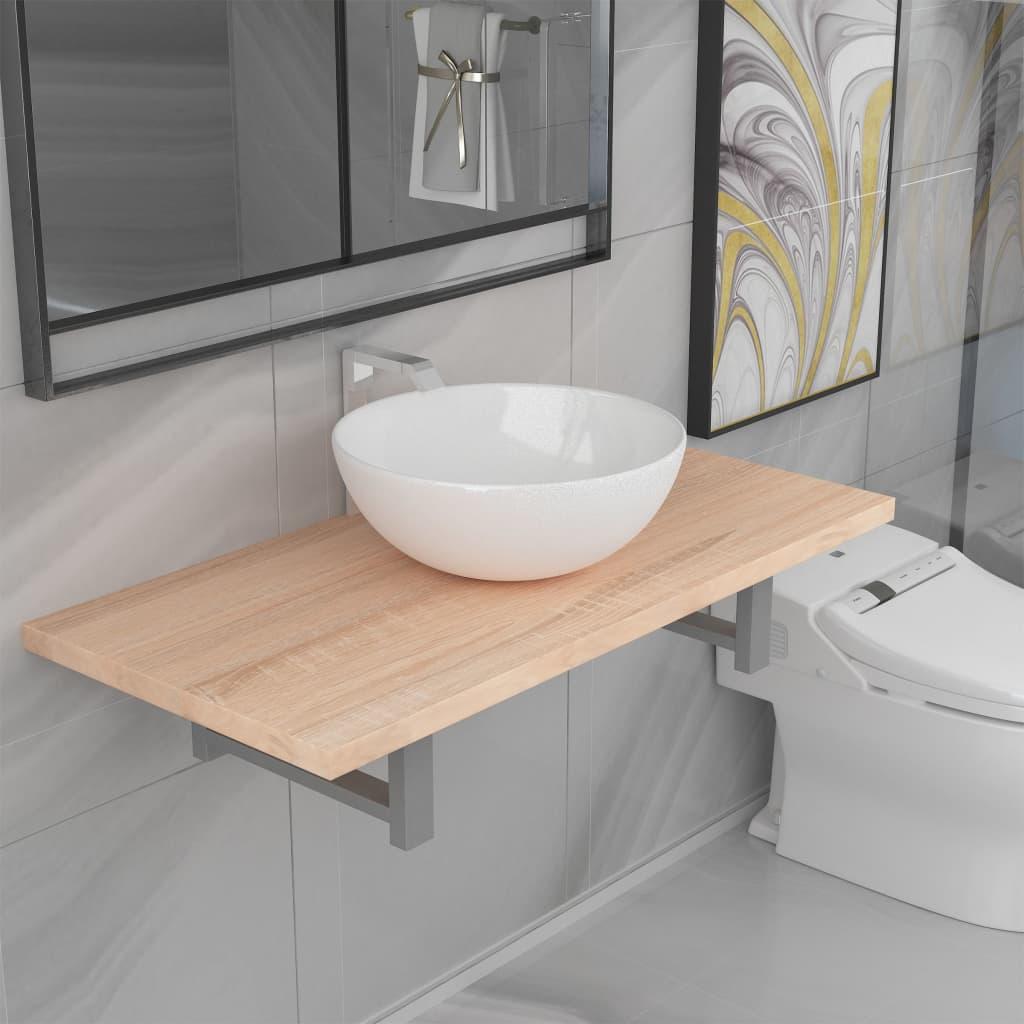 vidaXL Set mobilier de baie din două piese, stejar, ceramică poza 2021 vidaXL