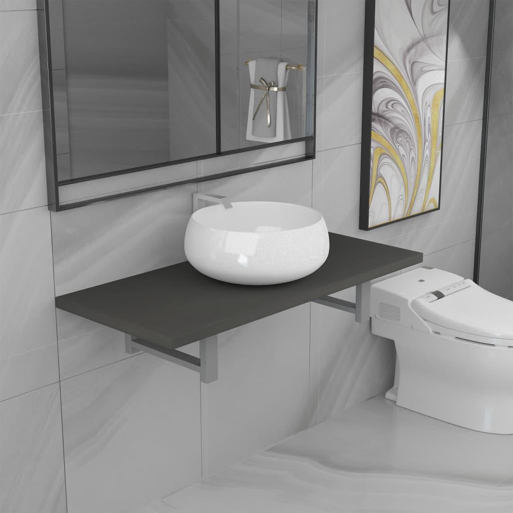 2dílný set koupelnového nábytku keramika šedý