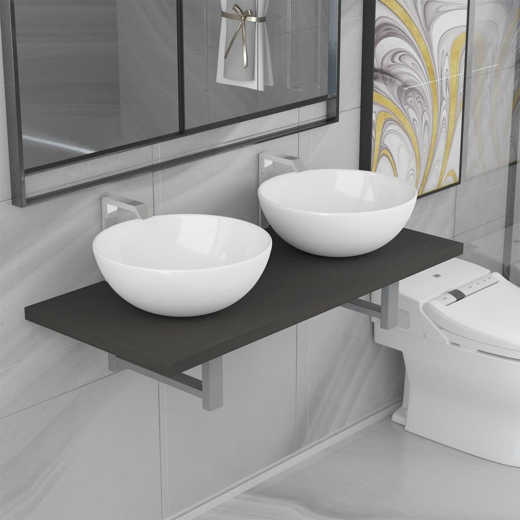 vidaXL Set mobilier de baie din trei piese, gri, ceramică poza vidaxl.ro